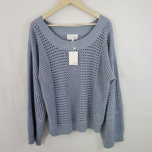 NWT FATE By LFD Grey Eyelet Knit Pullover Sweater